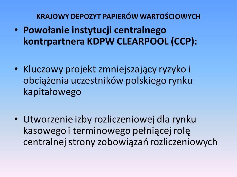 KRAJOWY DEPOZYT PAPIERÓW WARTOŚCIOWYCH Powołanie instytucji centralnego kontrpartnera KDPW CLEARPOOL (CCP): Kluczowy projekt zmniejszający ryzyko i ob