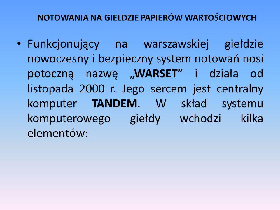 NOTOWANIA NA GIEŁDZIE PAPIERÓW WARTOŚCIOWYCH Funkcjonujący na warszawskiej giełdzie nowoczesny i bezpieczny system notowań nosi potoczną nazwę WARSET