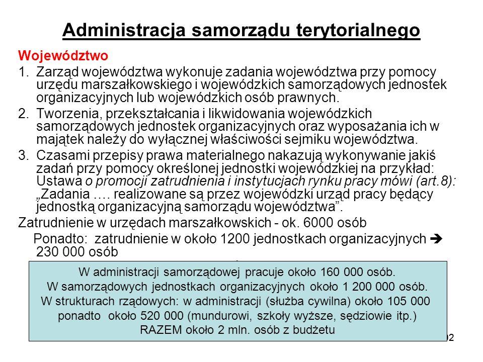 102 Administracja samorządu terytorialnego Województwo 1.Zarząd województwa wykonuje zadania województwa przy pomocy urzędu marszałkowskiego i wojewód