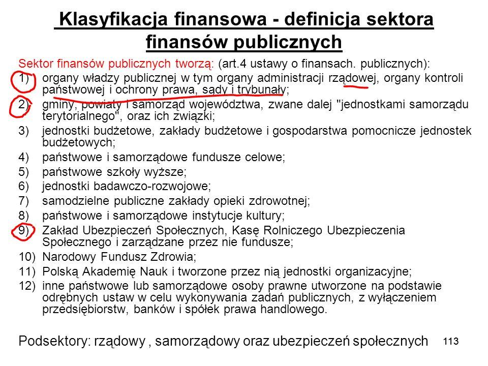 113 Klasyfikacja finansowa - definicja sektora finansów publicznych Sektor finansów publicznych tworzą: (art.4 ustawy o finansach. publicznych): 1)org