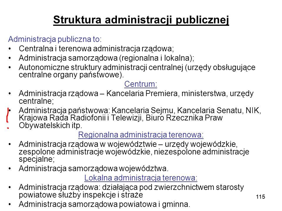 115 Struktura administracji publicznej Administracja publiczna to: Centralna i terenowa administracja rządowa; Administracja samorządowa (regionalna i