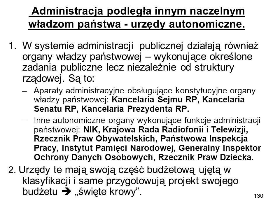 130 Administracja podległa innym naczelnym władzom państwa - urzędy autonomiczne. 1.W systemie administracji publicznej działają również organy władzy