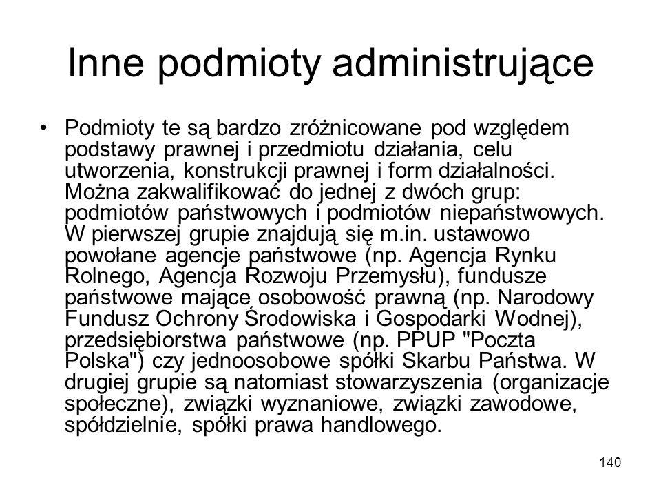 140 Inne podmioty administrujące Podmioty te są bardzo zróżnicowane pod względem podstawy prawnej i przedmiotu działania, celu utworzenia, konstrukcji