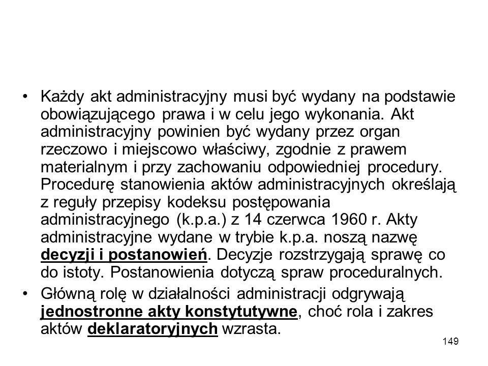 149 Każdy akt administracyjny musi być wydany na podstawie obowiązującego prawa i w celu jego wykonania. Akt administracyjny powinien być wydany przez
