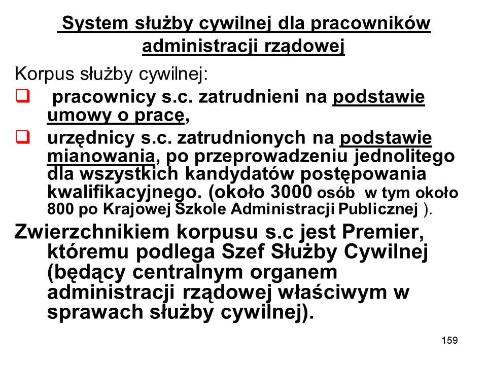 159 System służby cywilnej dla pracowników administracji rządowej Korpus służby cywilnej: pracownicy s.c. zatrudnieni na podstawie umowy o pracę, urzę