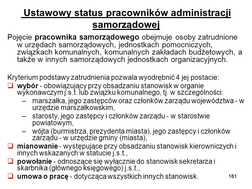 161 Ustawowy status pracowników administracji samorządowej Pojęcie pracownika samorządowego obejmuje osoby zatrudnione w urzędach samorządowych, jedno