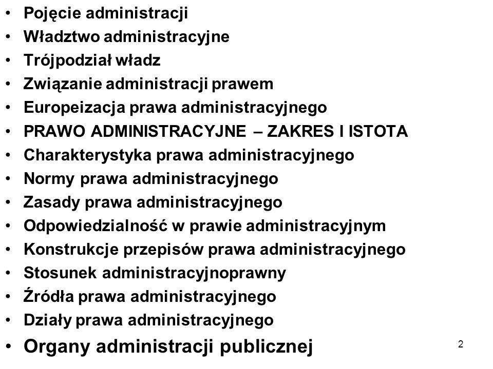 2 Pojęcie administracji Władztwo administracyjne Trójpodział władz Związanie administracji prawem Europeizacja prawa administracyjnego PRAWO ADMINISTR