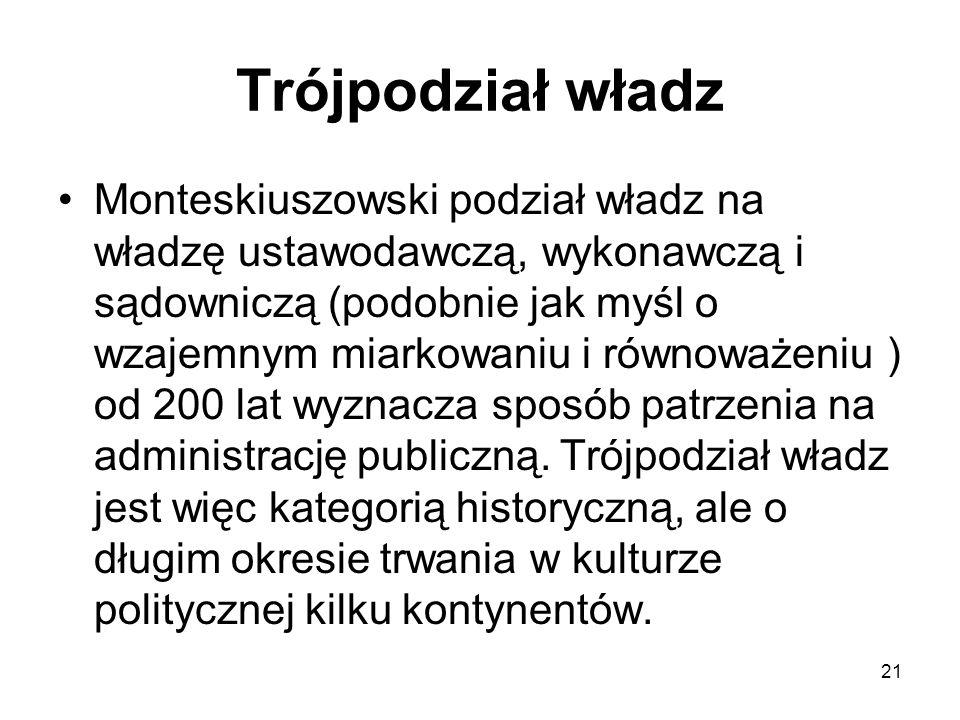 21 Trójpodział władz Monteskiuszowski podział władz na władzę ustawodawczą, wykonawczą i sądowniczą (podobnie jak myśl o wzajemnym miarkowaniu i równo