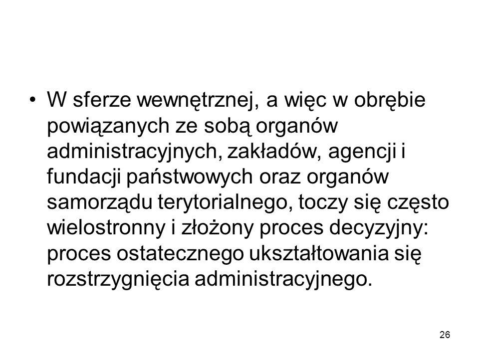 26 W sferze wewnętrznej, a więc w obrębie powiązanych ze sobą organów administracyjnych, zakładów, agencji i fundacji państwowych oraz organów samorzą