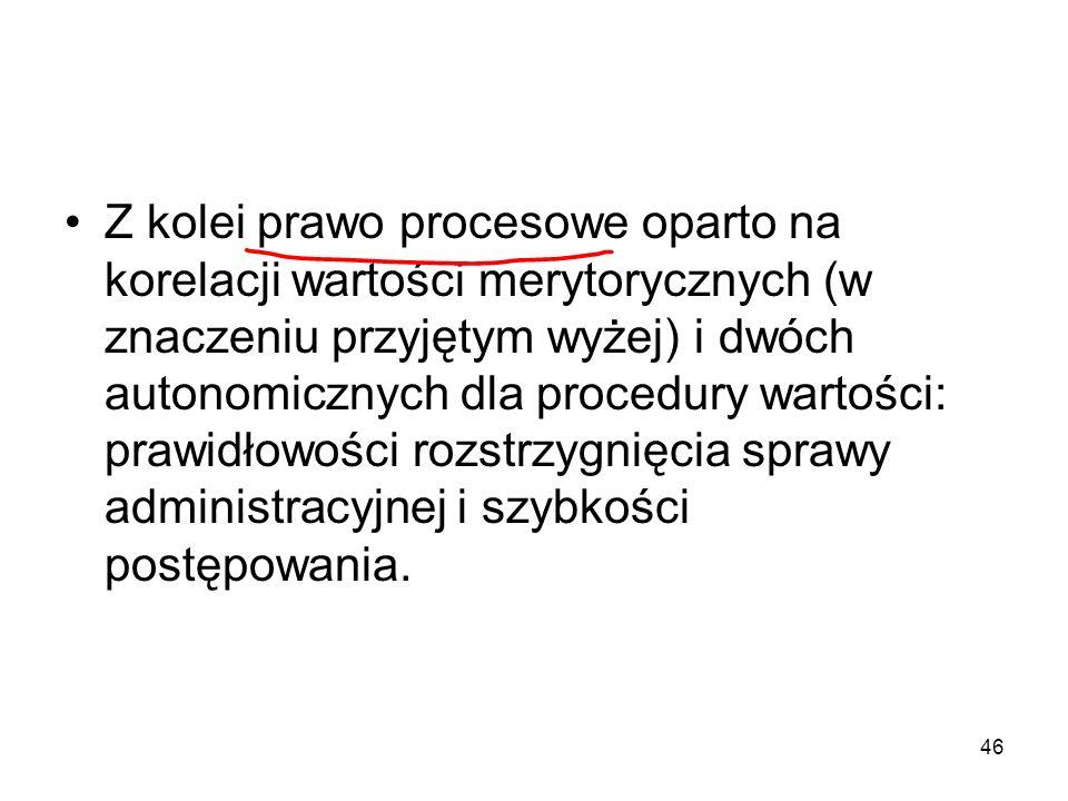 46 Z kolei prawo procesowe oparto na korelacji wartości merytorycznych (w znaczeniu przyjętym wyżej) i dwóch autonomicznych dla procedury wartości: pr