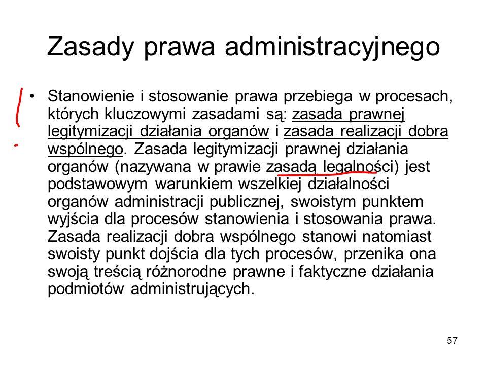 57 Zasady prawa administracyjnego Stanowienie i stosowanie prawa przebiega w procesach, których kluczowymi zasadami są: zasada prawnej legitymizacji d