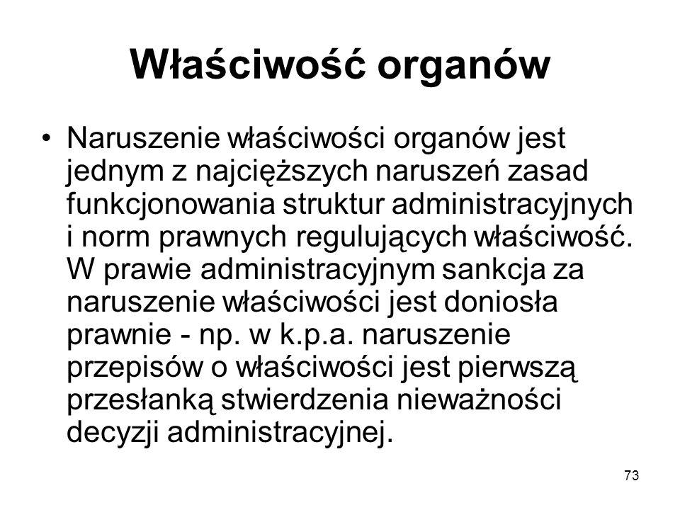 73 Właściwość organów Naruszenie właściwości organów jest jednym z najcięższych naruszeń zasad funkcjonowania struktur administracyjnych i norm prawny