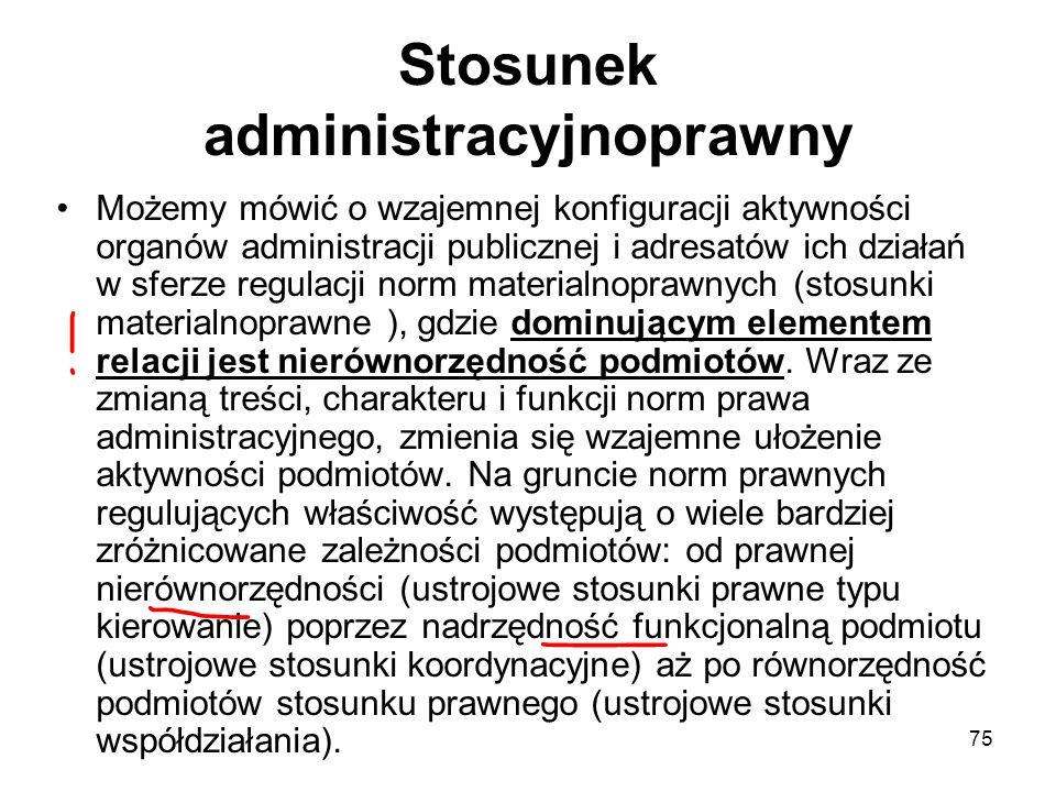 75 Stosunek administracyjnoprawny Możemy mówić o wzajemnej konfiguracji aktywności organów administracji publicznej i adresatów ich działań w sferze r