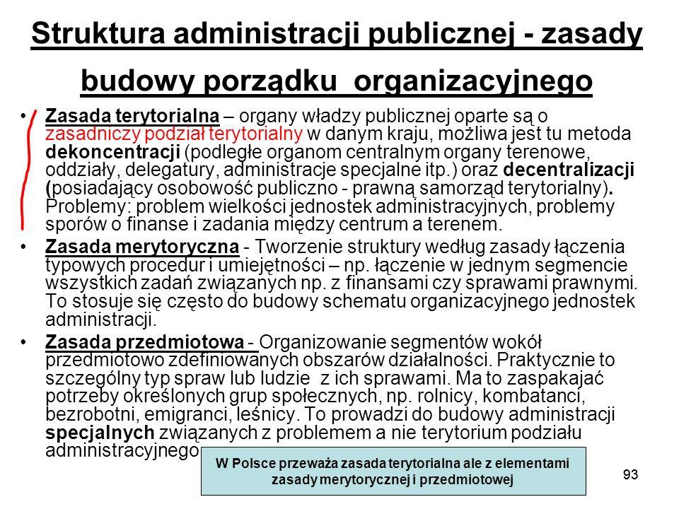 93 Struktura administracji publicznej - zasady budowy porządku organizacyjnego Zasada terytorialna – organy władzy publicznej oparte są o zasadniczy p