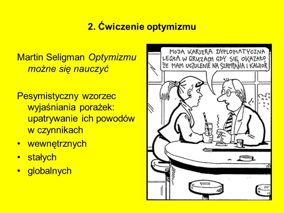 2. Ćwiczenie optymizmu Martin Seligman Optymizmu możne się nauczyć Pesymistyczny wzorzec wyjaśniania porażek: upatrywanie ich powodów w czynnikach wew