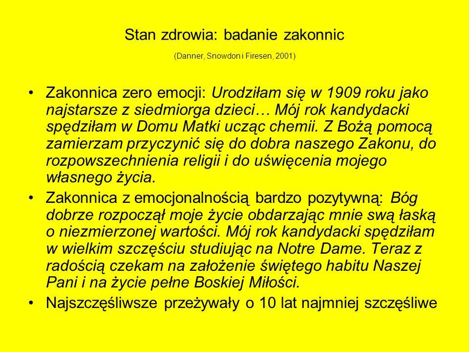 Stan zdrowia: badanie zakonnic (Danner, Snowdon i Firesen, 2001) Zakonnica zero emocji: Urodziłam się w 1909 roku jako najstarsze z siedmiorga dzieci…