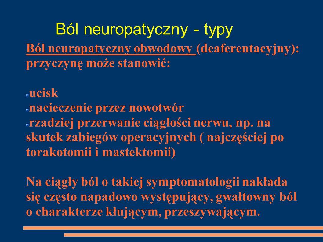 Ból neuropatyczny - typy Ból neuropatyczny obwodowy (deaferentacyjny): przyczynę może stanowić: ucisk nacieczenie przez nowotwór rzadziej przerwanie c