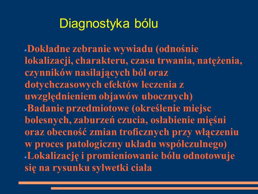 Diagnostyka bólu Dokładne zebranie wywiadu (odnośnie lokalizacji, charakteru, czasu trwania, natężenia, czynników nasilających ból oraz dotychczasowyc