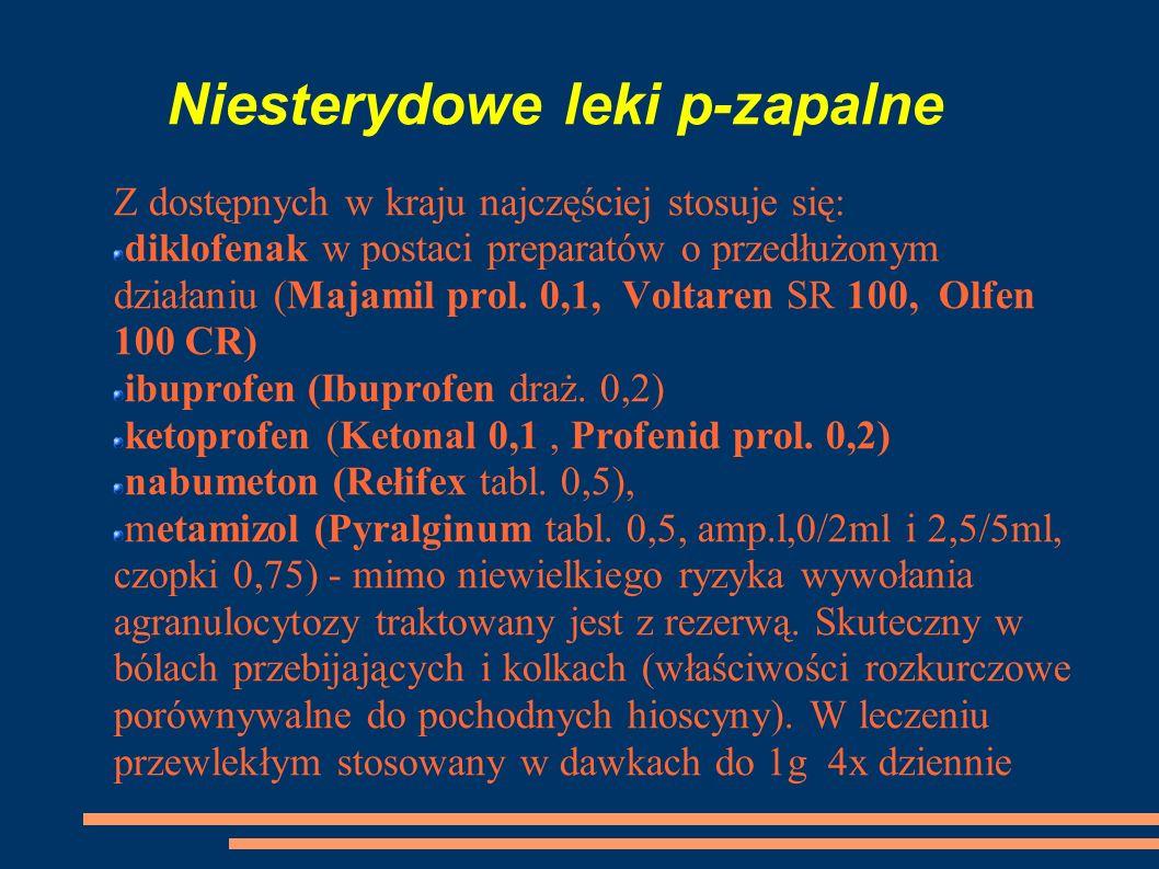 Niesterydowe leki p-zapalne Z dostępnych w kraju najczęściej stosuje się: diklofenak w postaci preparatów o przedłużonym działaniu (Majamil prol. 0,1,