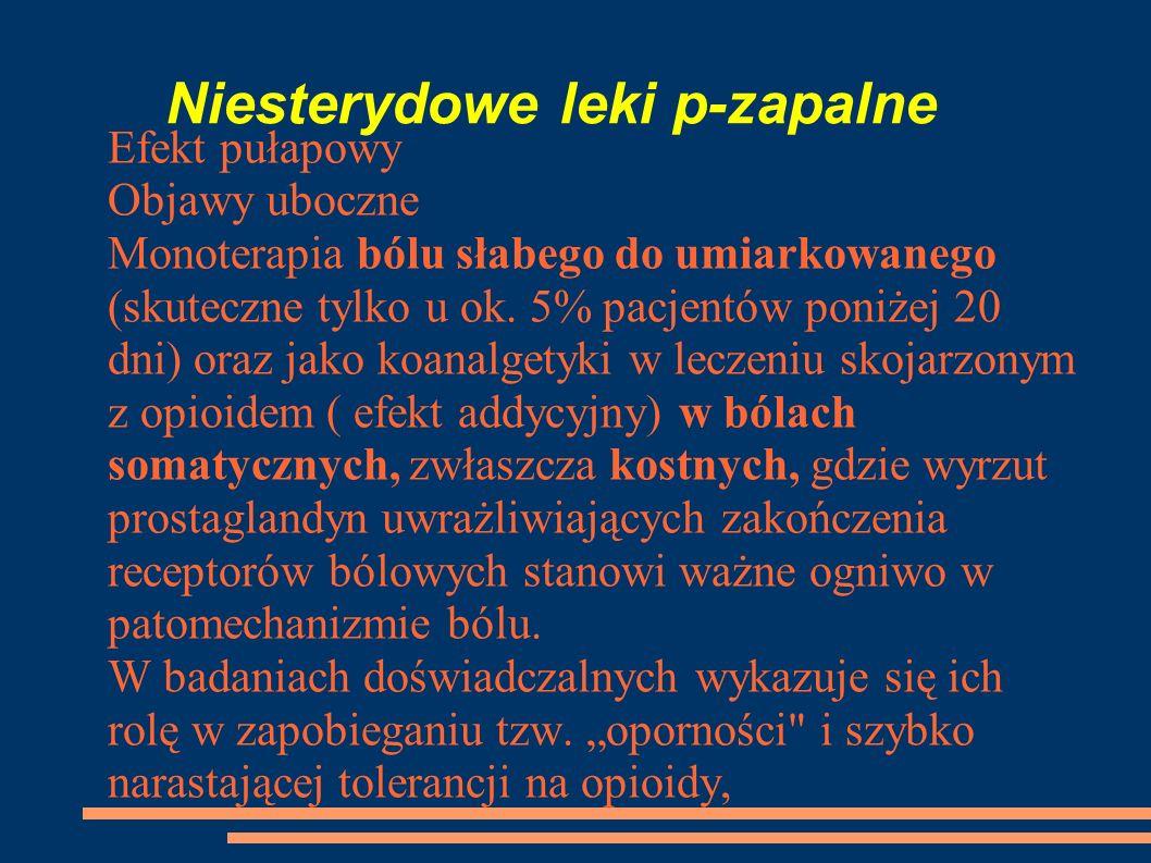 Niesterydowe leki p-zapalne Efekt pułapowy Objawy uboczne Monoterapia bólu słabego do umiarkowanego (skuteczne tylko u ok. 5% pacjentów poniżej 20 dni