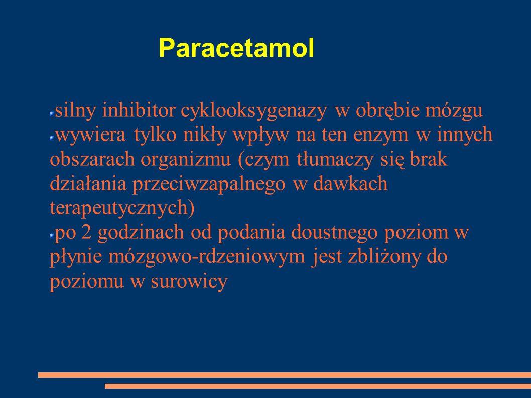 Paracetamol silny inhibitor cyklooksygenazy w obrębie mózgu wywiera tylko nikły wpływ na ten enzym w innych obszarach organizmu (czym tłumaczy się bra