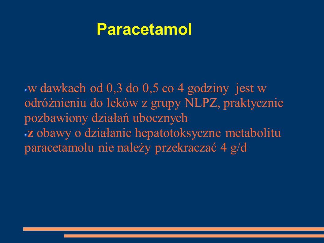 Paracetamol w dawkach od 0,3 do 0,5 co 4 godziny jest w odróżnieniu do leków z grupy NLPZ, praktycznie pozbawiony działań ubocznych z obawy o działani
