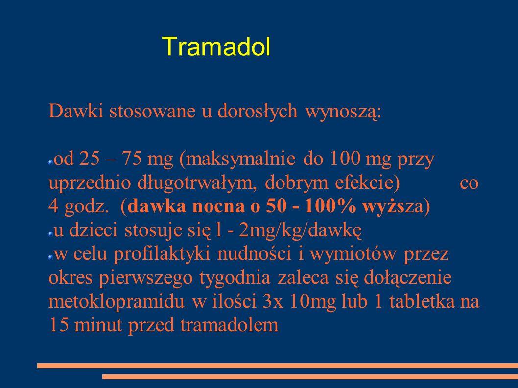 Tramadol Dawki stosowane u dorosłych wynoszą: od 25 – 75 mg (maksymalnie do 100 mg przy uprzednio długotrwałym, dobrym efekcie) co 4 godz. (dawka nocn