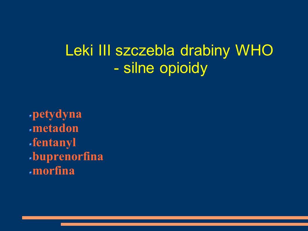 Leki III szczebla drabiny WHO - silne opioidy petydyna metadon fentanyl buprenorfina morfina