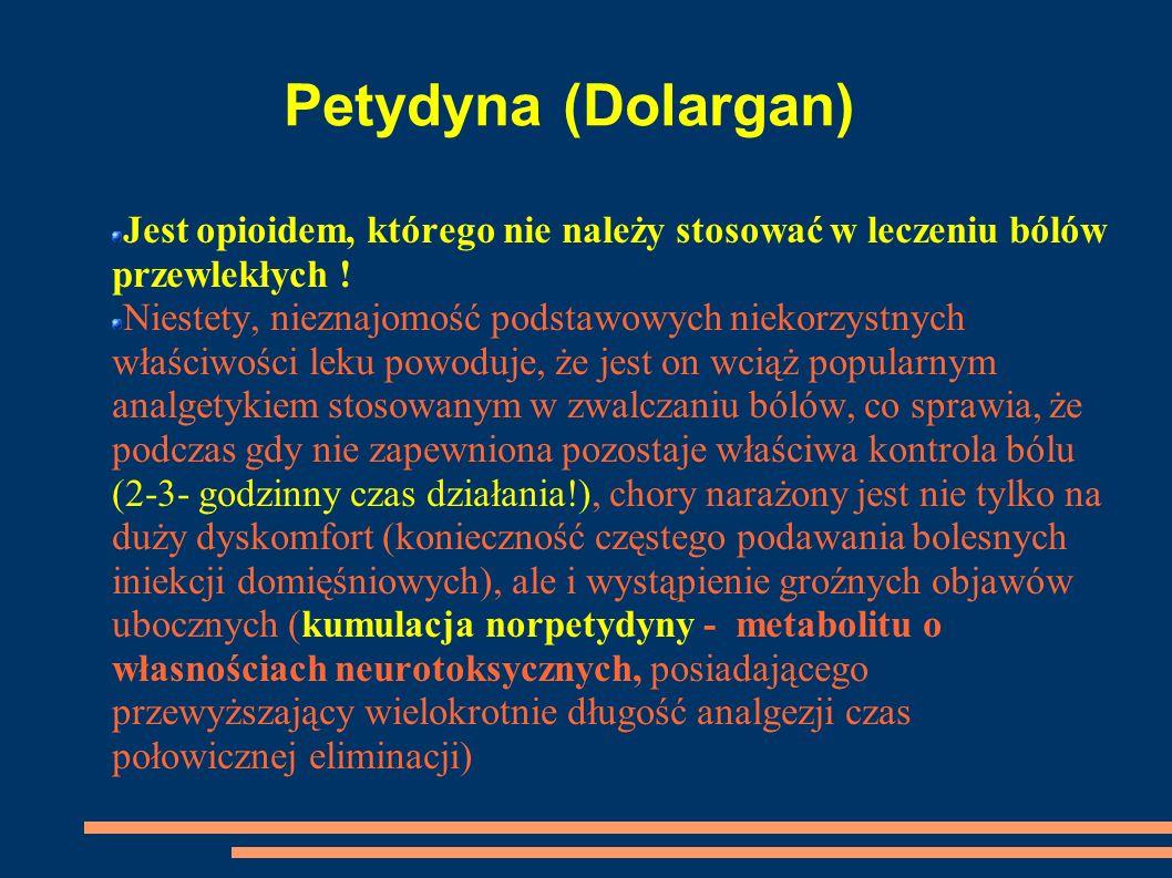 Petydyna (Dolargan) Jest opioidem, którego nie należy stosować w leczeniu bólów przewlekłych ! Niestety, nieznajomość podstawowych niekorzystnych właś