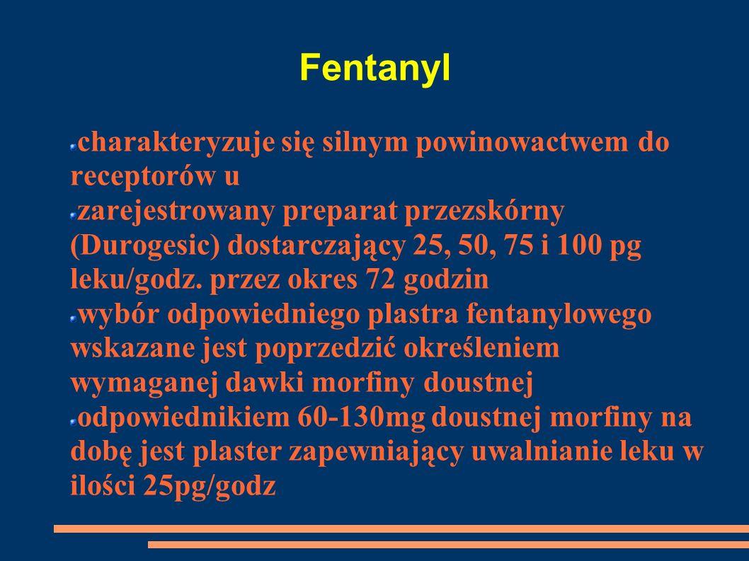 Fentanyl charakteryzuje się silnym powinowactwem do receptorów u zarejestrowany preparat przezskórny (Durogesic) dostarczający 25, 50, 75 i 100 pg lek