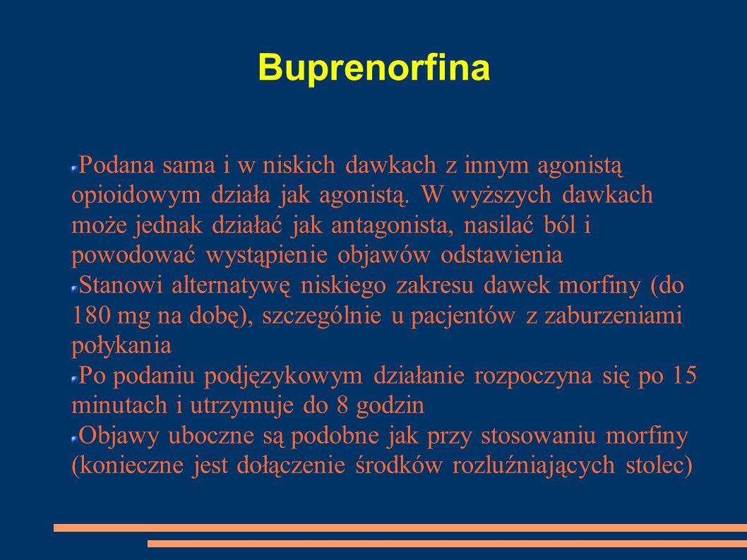 Buprenorfina Podana sama i w niskich dawkach z innym agonistą opioidowym działa jak agonistą. W wyższych dawkach może jednak działać jak antagonista,
