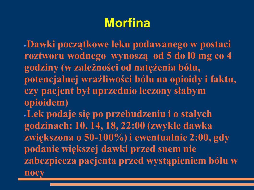 Morfina Dawki początkowe leku podawanego w postaci roztworu wodnego wynoszą od 5 do l0 mg co 4 godziny (w zależności od natężenia bólu, potencjalnej w