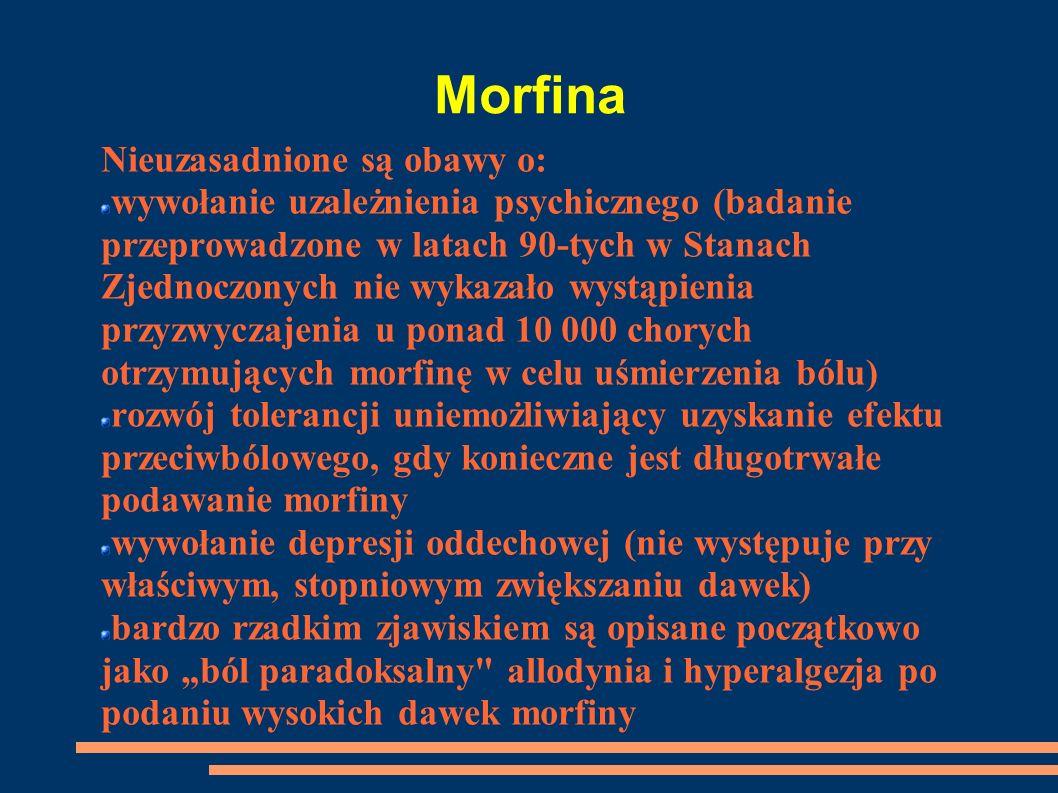 Morfina Nieuzasadnione są obawy o: wywołanie uzależnienia psychicznego (badanie przeprowadzone w latach 90-tych w Stanach Zjednoczonych nie wykazało w