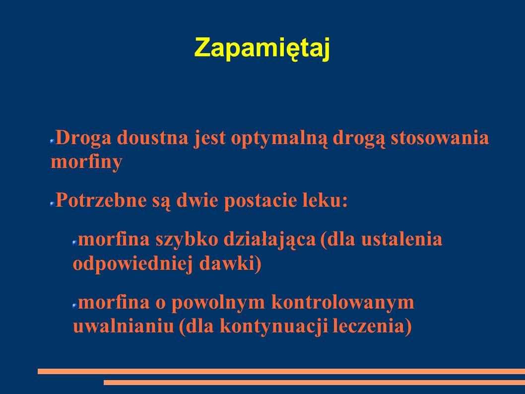 Zapamiętaj Droga doustna jest optymalną drogą stosowania morfiny Potrzebne są dwie postacie leku: morfina szybko działająca (dla ustalenia odpowiednie
