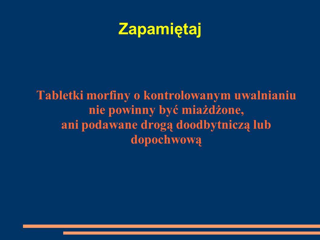 Zapamiętaj Tabletki morfiny o kontrolowanym uwalnianiu nie powinny być miażdżone, ani podawane drogą doodbytniczą lub dopochwową