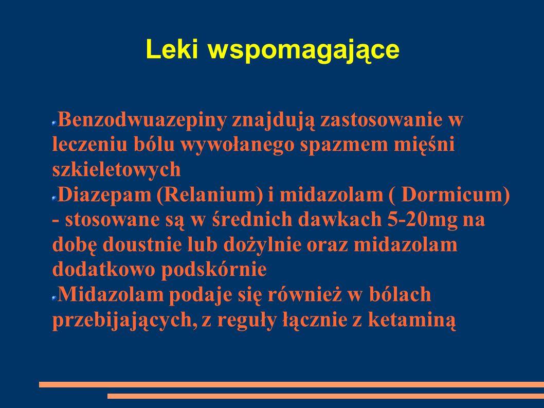 Leki wspomagające Benzodwuazepiny znajdują zastosowanie w leczeniu bólu wywołanego spazmem mięśni szkieletowych Diazepam (Relanium) i midazolam ( Dorm