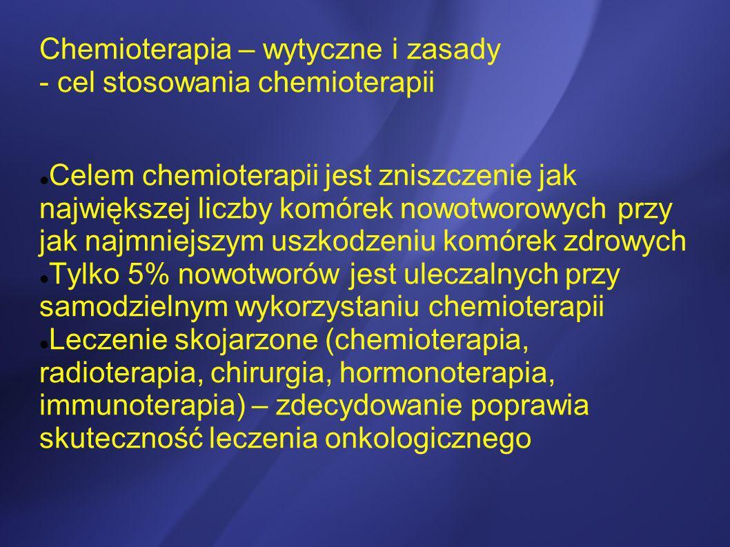Celem chemioterapii jest zniszczenie jak największej liczby komórek nowotworowych przy jak najmniejszym uszkodzeniu komórek zdrowych Tylko 5% nowotwor