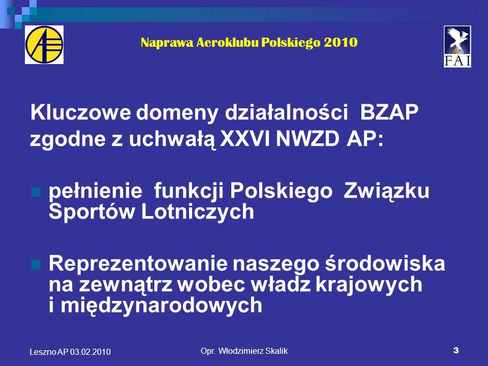 3 Naprawa Aeroklubu Polskiego 2010 Kluczowe domeny działalności BZAP zgodne z uchwałą XXVI NWZD AP: pełnienie funkcji Polskiego Związku Sportów Lotnic