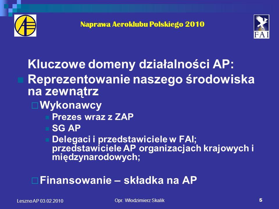 5 Naprawa Aeroklubu Polskiego 2010 Kluczowe domeny działalności AP: Reprezentowanie naszego środowiska na zewnątrz Wykonawcy Prezes wraz z ZAP SG AP D