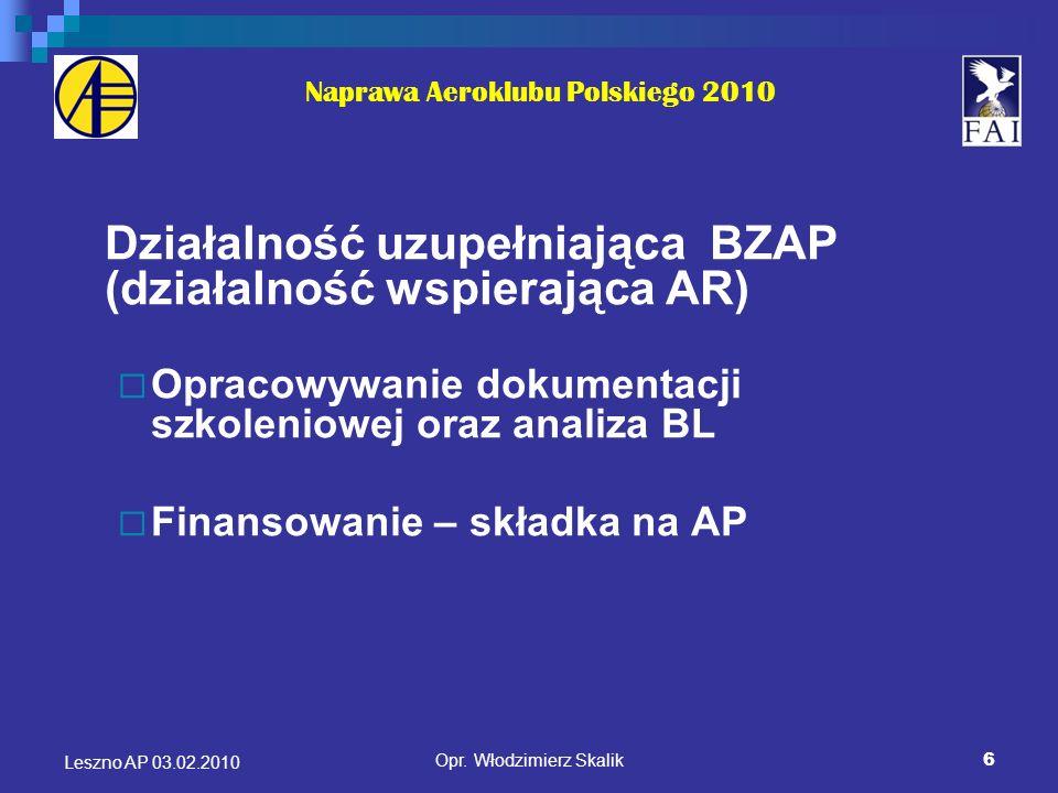 7 Naprawa Aeroklubu Polskiego 2010 Działalność uzupełniająca BZAP (działalność wspierająca AR) Pełnienie funkcji zarządzającego lotniskami Finansowanie – opłata na podstawie umów zawartych z AR gł.