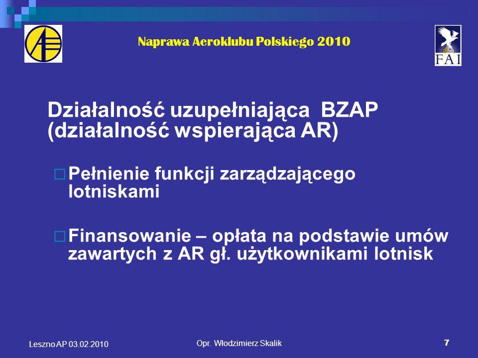7 Naprawa Aeroklubu Polskiego 2010 Działalność uzupełniająca BZAP (działalność wspierająca AR) Pełnienie funkcji zarządzającego lotniskami Finansowani