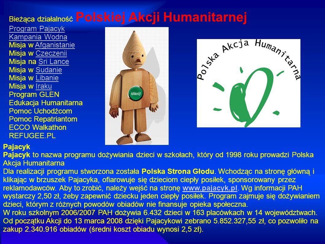 Pajacyk Pajacyk to nazwa programu dożywiania dzieci w szkołach, który od 1998 roku prowadzi Polska Akcja Humanitarna Dla realizacji programu stworzona