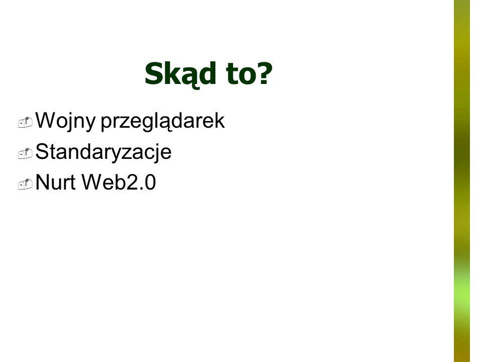 Skąd to? Wojny przeglądarek Standaryzacje Nurt Web2.0