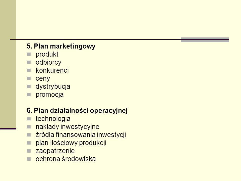 5. Plan marketingowy produkt odbiorcy konkurenci ceny dystrybucja promocja 6. Plan działalności operacyjnej technologia nakłady inwestycyjne źródła fi