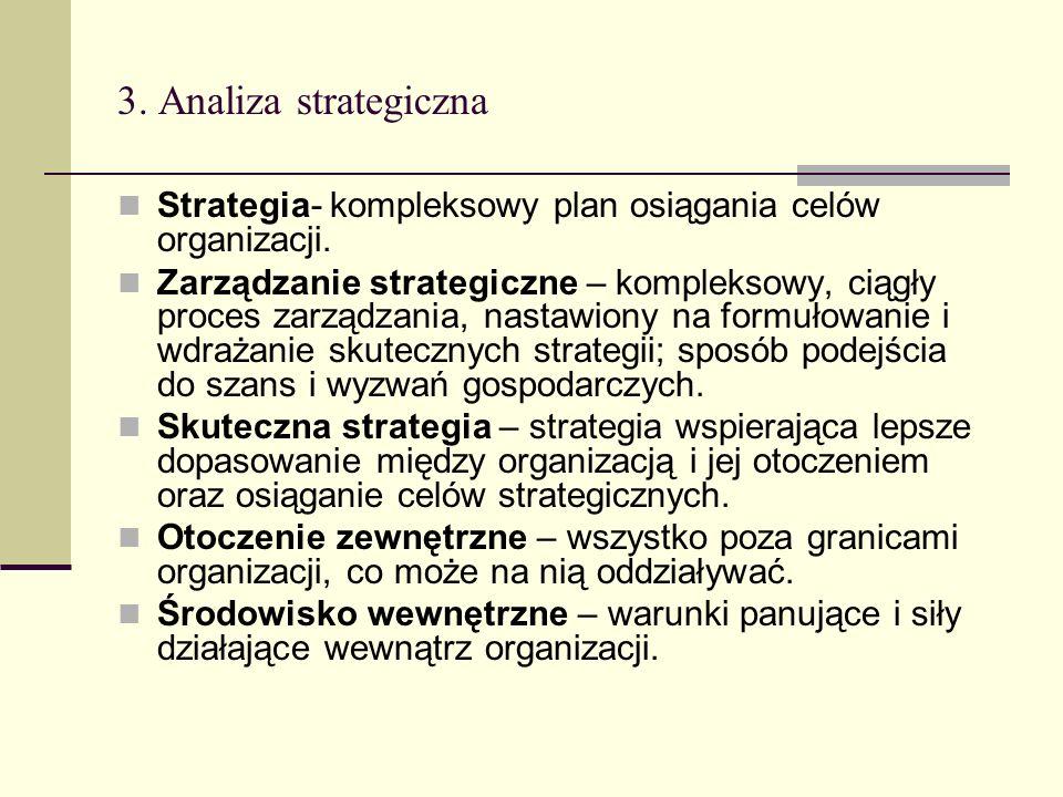 3. Analiza strategiczna Strategia- kompleksowy plan osiągania celów organizacji. Zarządzanie strategiczne – kompleksowy, ciągły proces zarządzania, na