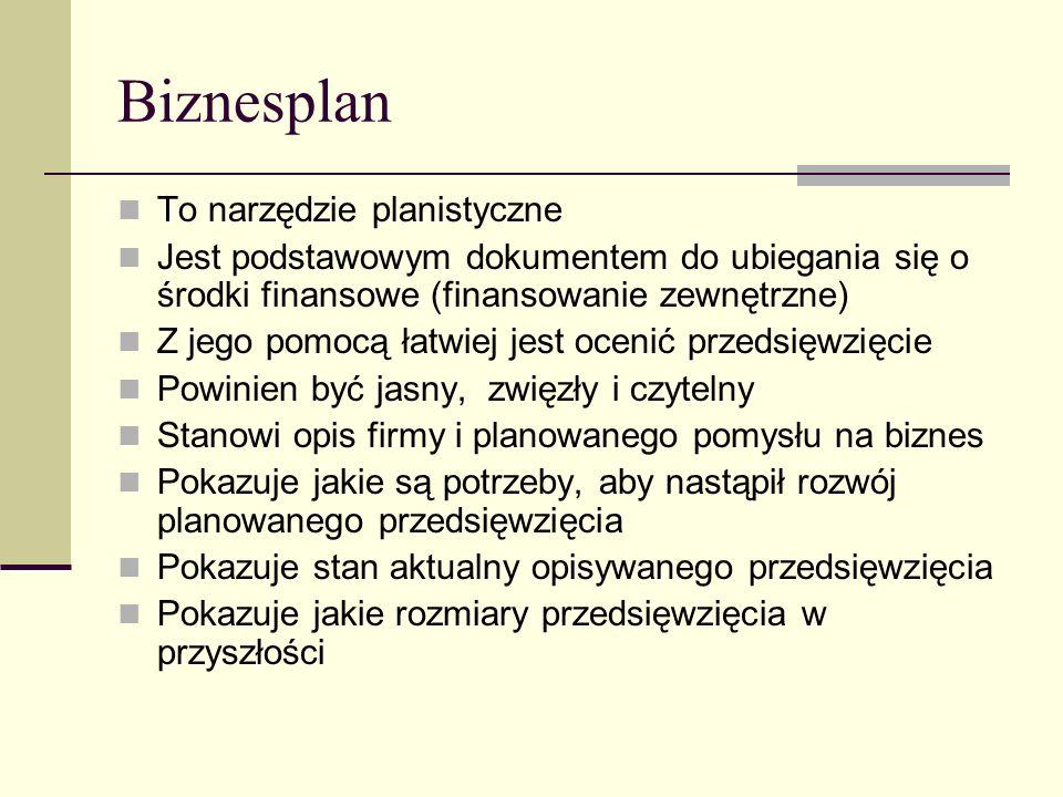 Biznesplan To narzędzie planistyczne Jest podstawowym dokumentem do ubiegania się o środki finansowe (finansowanie zewnętrzne) Z jego pomocą łatwiej j