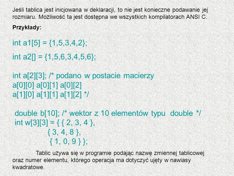 Jako numer elementu może służyć stała całkowita, zmienna typu całkowitego lub dowolne wyrażenie, którego wynikiem jest liczba całkowita.