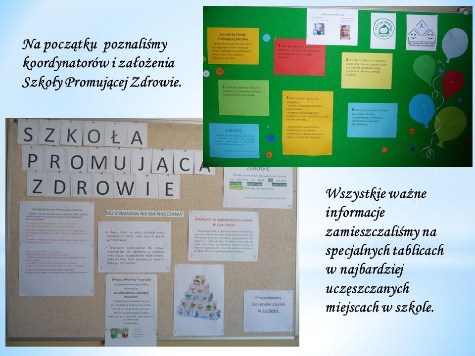 Na początku poznaliśmy koordynatorów i założenia Szkoły Promującej Zdrowie. Wszystkie ważne informacje zamieszczaliśmy na specjalnych tablicach w najb