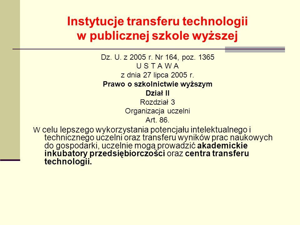 Instytucje transferu technologii w publicznej szkole wyższej Dz. U. z 2005 r. Nr 164, poz. 1365 U S T A W A z dnia 27 lipca 2005 r. Prawo o szkolnictw
