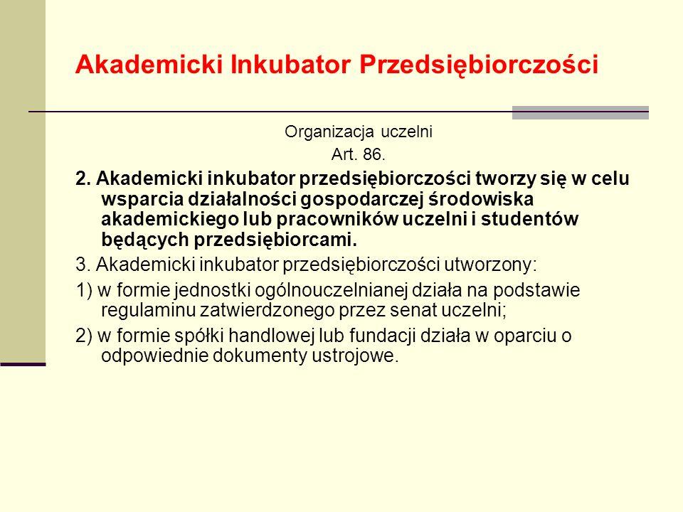 Akademicki Inkubator Przedsiębiorczości Organizacja uczelni Art. 86. 2. Akademicki inkubator przedsiębiorczości tworzy się w celu wsparcia działalnośc